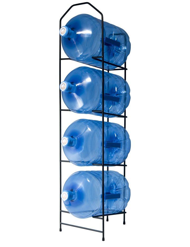 Black metal rack for water bottles or carafes