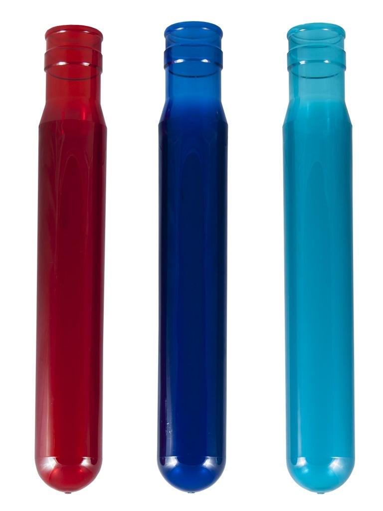 ПЭТ-преформа 750 гр. Бисфенол-А бесплатно доступен в синем, красном или бирюзовом цвете.