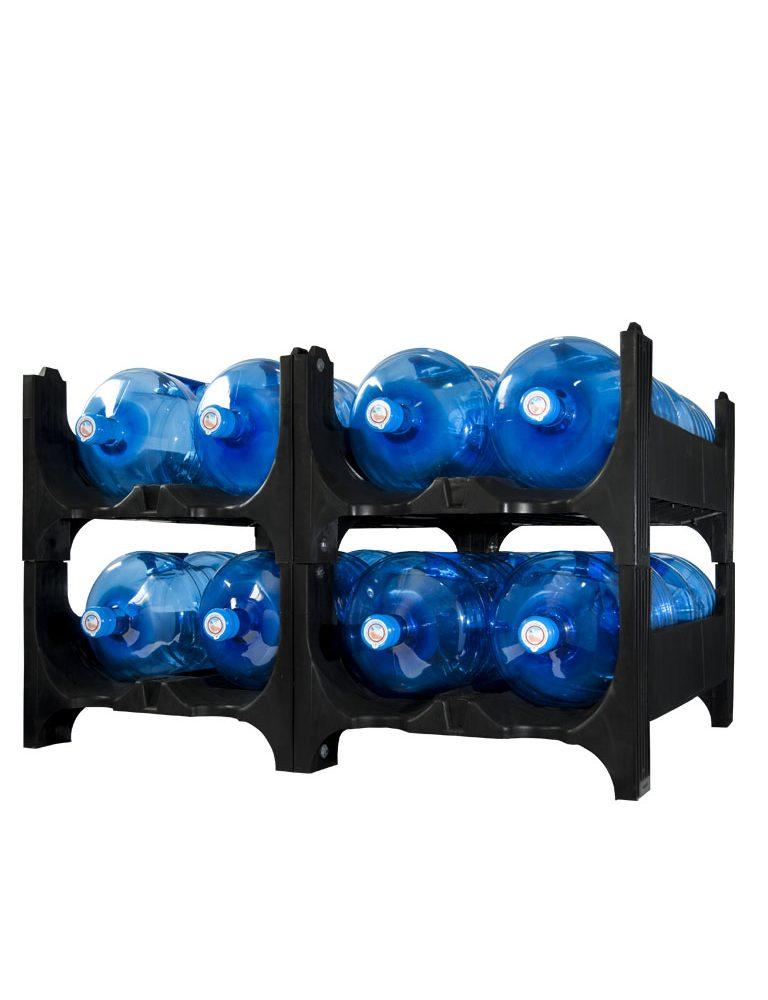 Transporte e Armazenamento. Estantes empilháveis para garrafas de água de 12 a 20 litros