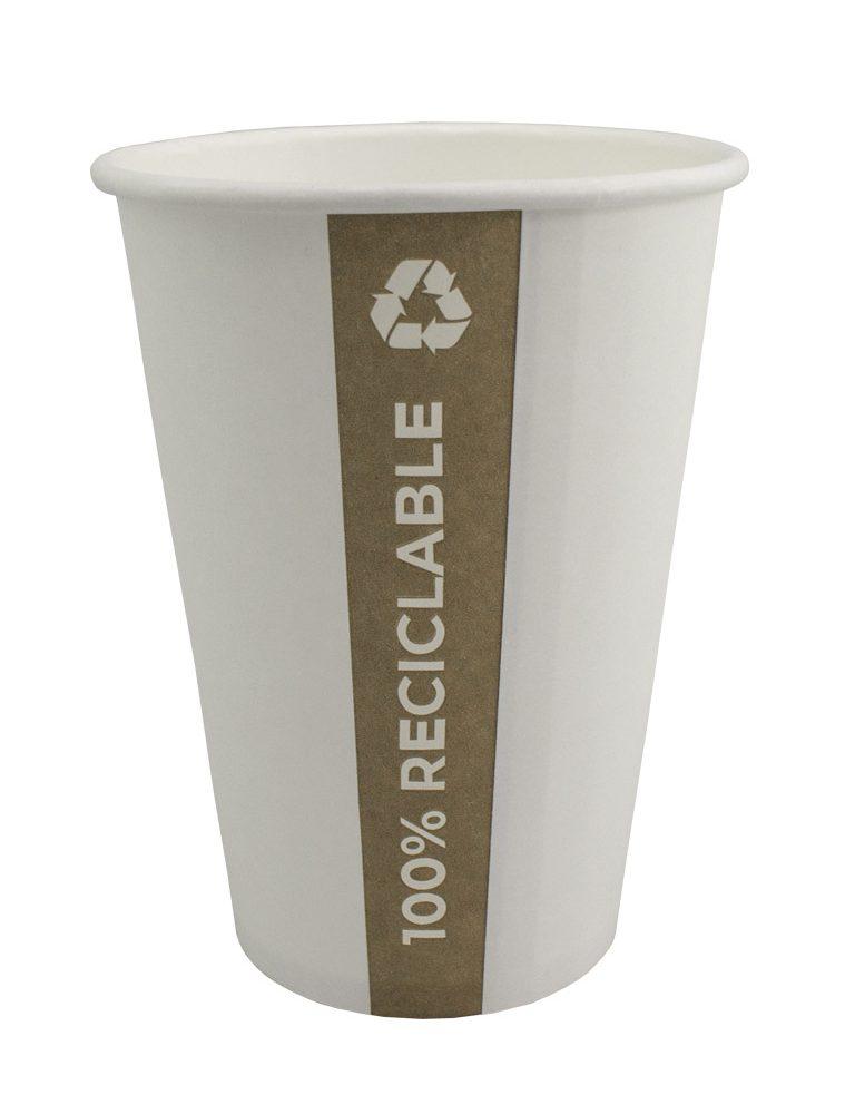 Copo de papel PE. Copo feito de celulose com uma camada interior de PE totalmente reciclável. É amigo do ambiente.