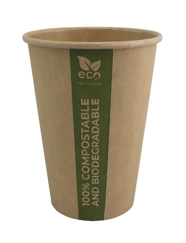 бумажный стаканчик PLA. Чашка из целлюлозы со слоем PLA, полностью биоразлагаемая и компостируемая. Экологически чистый.