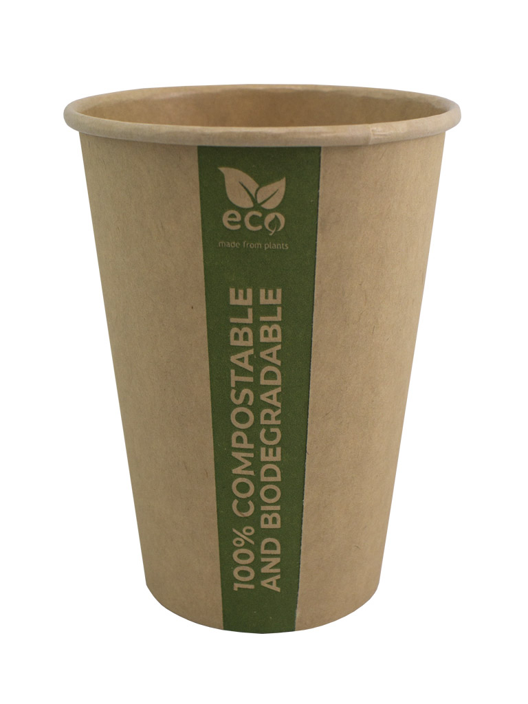 PLA paper cup. Made of cellulose with PLA layer, fully biodegradable and compostable.